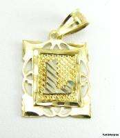 INITIAL L PENDANT   Letter Solid 10k Yellow White GOLD