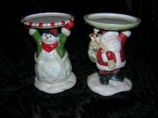 Pair Avon Christmas Snowman & Santa Pillar Candle Hold