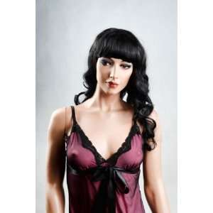 Female Mannequin Long Black Wig with Curls and Bangs