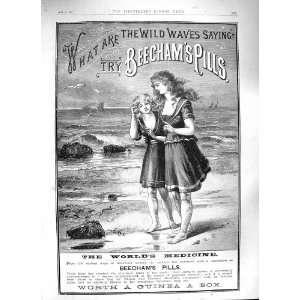 1888 ADVERTISEMENT BEECHAMS PILLS MEDICINE GIRLS BEACH