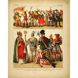 1882 Costume German Renaissance Bishop Jester Fool Men   Original