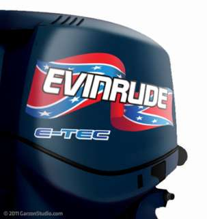 EVINRUDE Outboard Confederate Rebel Flag Decal set 14