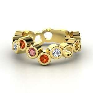 Round Red Garnet 18K Yellow Gold Ring with Fire Opal & Diamo Jewelry
