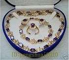 purple amethyst inlay 18KGP gold plate necklace bracelet earring ring