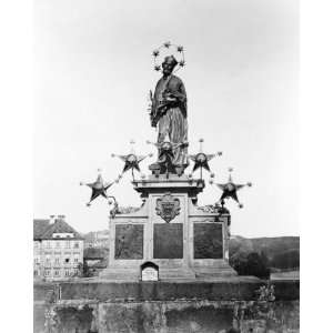 1800s photo Prague. Statue of St. John Nepomue . Home