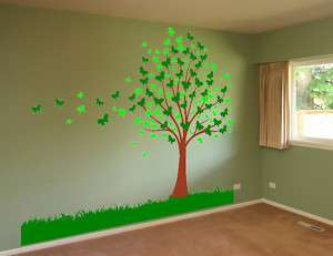 Butterfly Tree and Grass Deco Vinyl Wall Decal Sticker