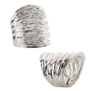 Silver, Rhodium, or 10K Gold Plated Wide Braided Band Rings in Sizes 6