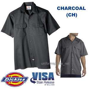 Dickies Mens SHORT SLEEVE Work Shirt Nwt S 6XL CHARCOAL