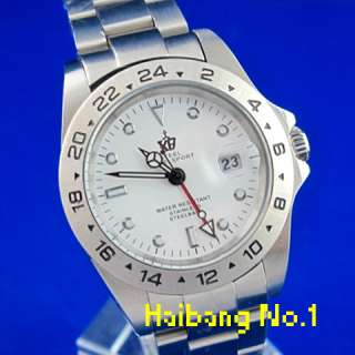 Luxury Mens GMT Dual Time Zone S/Steel Date Automatic Mechnical Watch