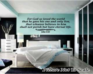 John 316 Custom Scripture Vinyl Wall Decal RELIGIOUS