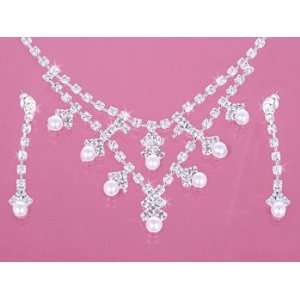 Rhinestone Crystal Pearl Necklace Earring Set Everything