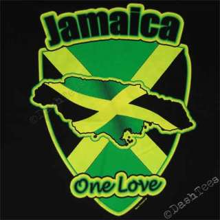 JAMAICA REGGAE RASTA FLAG LOVE NEW YELLOW BLACK T SHIRT