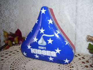 PATRIOTIC HERSHEY KISS TIN RED WHITE AND BLUE