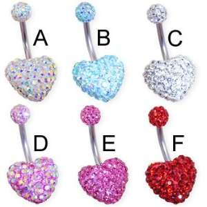 Crystal paved double heart belly ring, aquamarine AB   B
