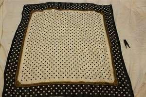 oversized large navy blue white polka dot chain print scarf 34 square