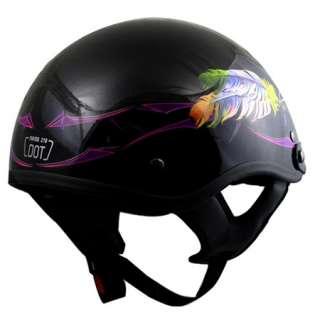 Womens DOT Motorcycle Helmet Feather Ladies Black [L]