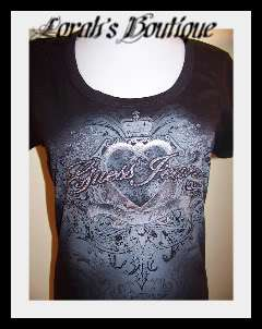NEW WITH TAG GUESS BLACK HEARTW/RHINESTONES TEE TOP SM