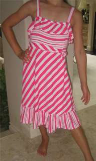 New Girls Rare Editions PINK Candy STRIPE Dress 12 NWT