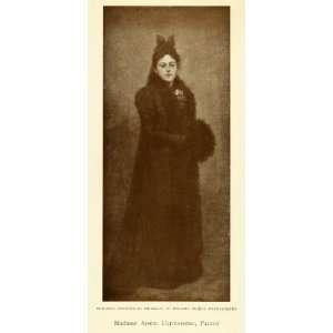 1905 Print Self Portrait Female Artist Painter Arsene Darmesteter Fur