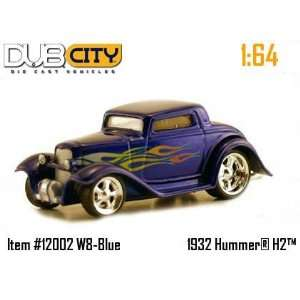 Dub City Hot Rod Blue 1932 Ford with Flames 164 Scale Die Cast Car