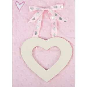 Painted Wooden Heart with Pink Star Ribbon Hanger Nursery
