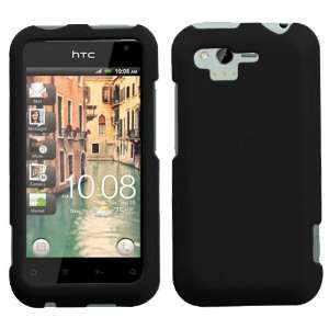 HTC Rhyme Rubberized Hard Case Cover   Black Cell Phones