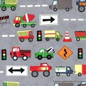 Ten Little Things Trucks on Grey by Moda Arts, Crafts