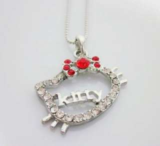 Cute New Style hello kitty RED bow pendant necklace L19