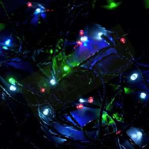 Multi Color Solar LED Christmas Lights, Green Wire