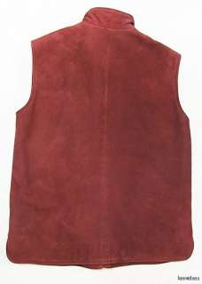 Italian LORO PIANA Womens Suede Leather Vest With 100% Cashmere