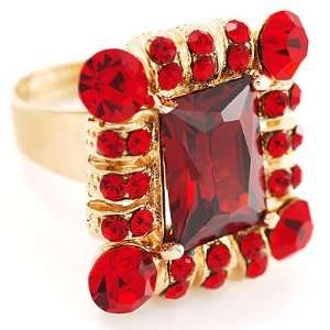 Queen Of Beauty Red Crystal Cocktail Ring   size adjustable 7 to 9