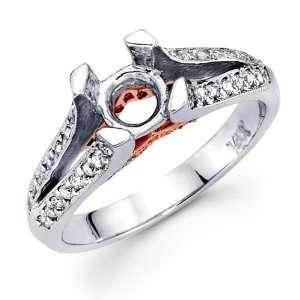 Semi Mount Diamond Engagement Ring 14k Gold Split Shank Pave Setting