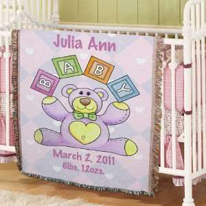 Personalized Baby Girl Teddy Bear Blanket Baby