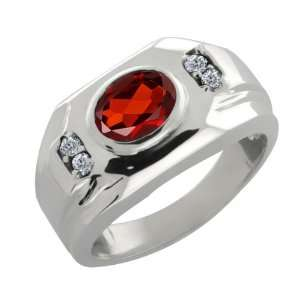 1.18 Ct Red Garnet & White Diamonds Mens Silver Ring