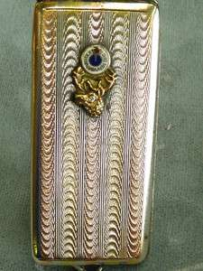 Estate sterling and 10k rose and yellow gold Elks case diamond eye