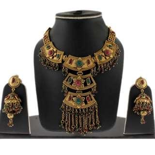 DESIGNER RUBY EMERALD INDIAN BRIDAL GOLD TONE NECKLACE EARRINGS SET