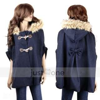 Style Wool blend Hooded Cloak Poncho Coat Outerwear Jacket Cape