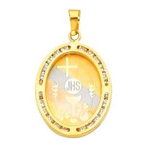 14K Yellow Gold Religious Communion CZ Cubic Zirconia