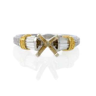 18K YELLOW GOLD AND PLATINUM DIAMOND ENGAGEMENT RING SETTING