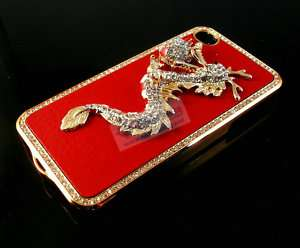 Plating Crystal Dragon Hard Case for iPhone 4 4G RED