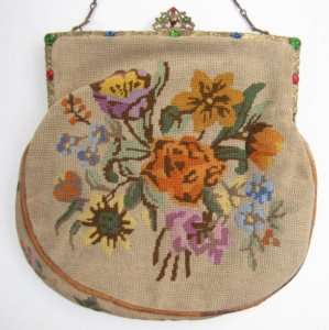 Pretty Floral Petit Point Purse, Cabochon Jewel Frame