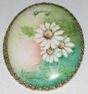 Vintage Handpainted Daisy Flowers Porcelain Brooch Pin