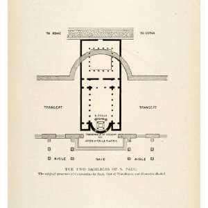 1893 Print St Paul Basilica Honorius Transept Galla Arch