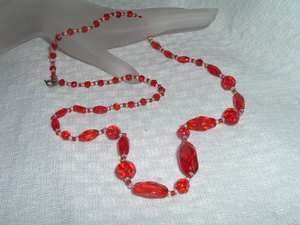 VINTAGE CHERRY RED FACETED CRYSTAL NECKLACE IN GIFT BOX