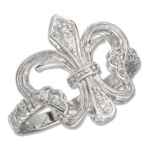 Sterling Silver Open Cubic Zirconia Fleur to de to lis