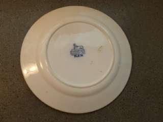 Vintage Petrus Regout Flow Blue Plata Bird Dessert Plate Holland