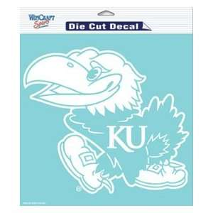 Kansas Jayhawks KU NCAA Die Cut Decal 8 X 8 White