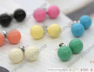 Fashion apair x Hot Lovely Candy Ball Stud silver plated Earrings