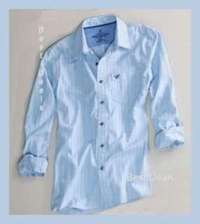 Mens Vintage Fit BLUE Premium STRIPED Shirt New FREE FAST SHIP