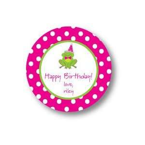 Polka Dot Pear Design   Round Stickers (Pink Frog   506r